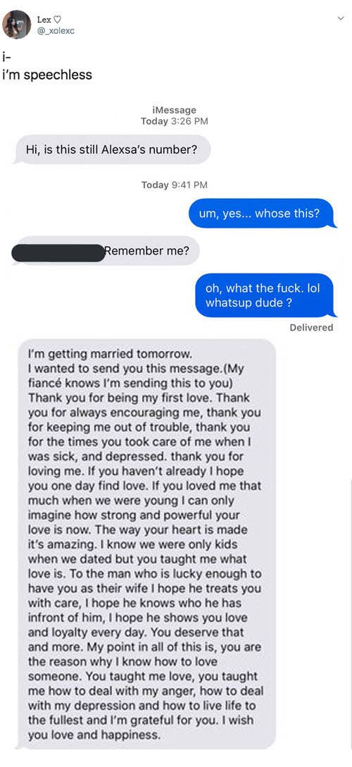 This Woman Got A Text From Her Ex Right Before His Wedding