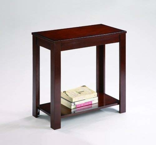 The table in brown with a lower shelf with a stack of books on it
