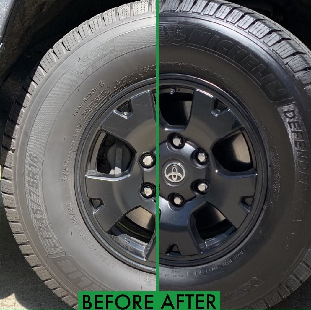 Reviewer before-and-after photos showing a dusty tire restored to a dark, glossy appearance