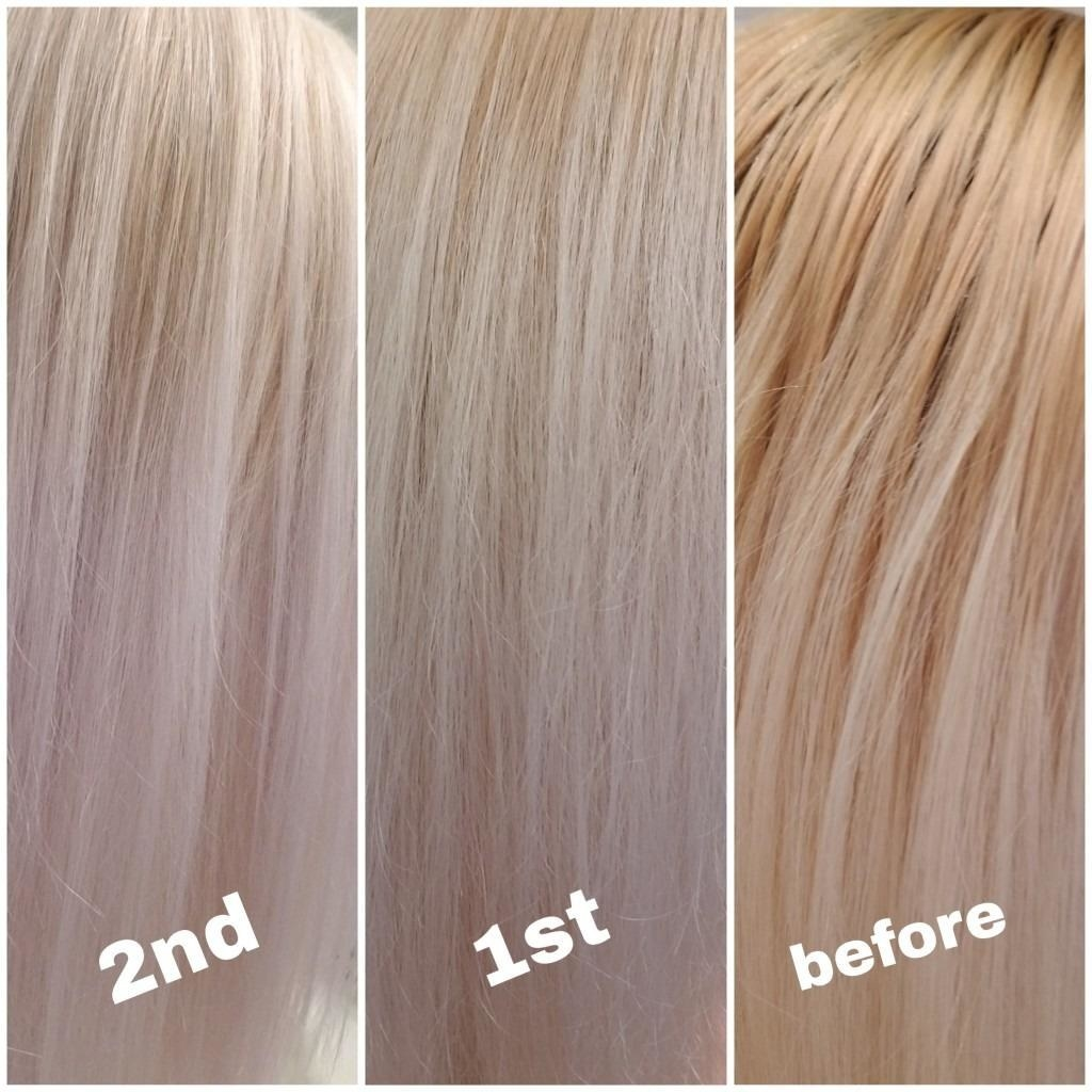 Reviewer photos of hair before and after using the shampoo. Brassy tones are completely removed, resulting in a true platinum blonde color
