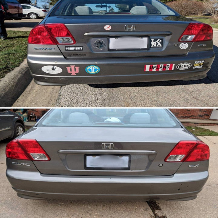 Before and after: a car with a bunch of bumper stickers, then with all the stickers removed, no residue in sight