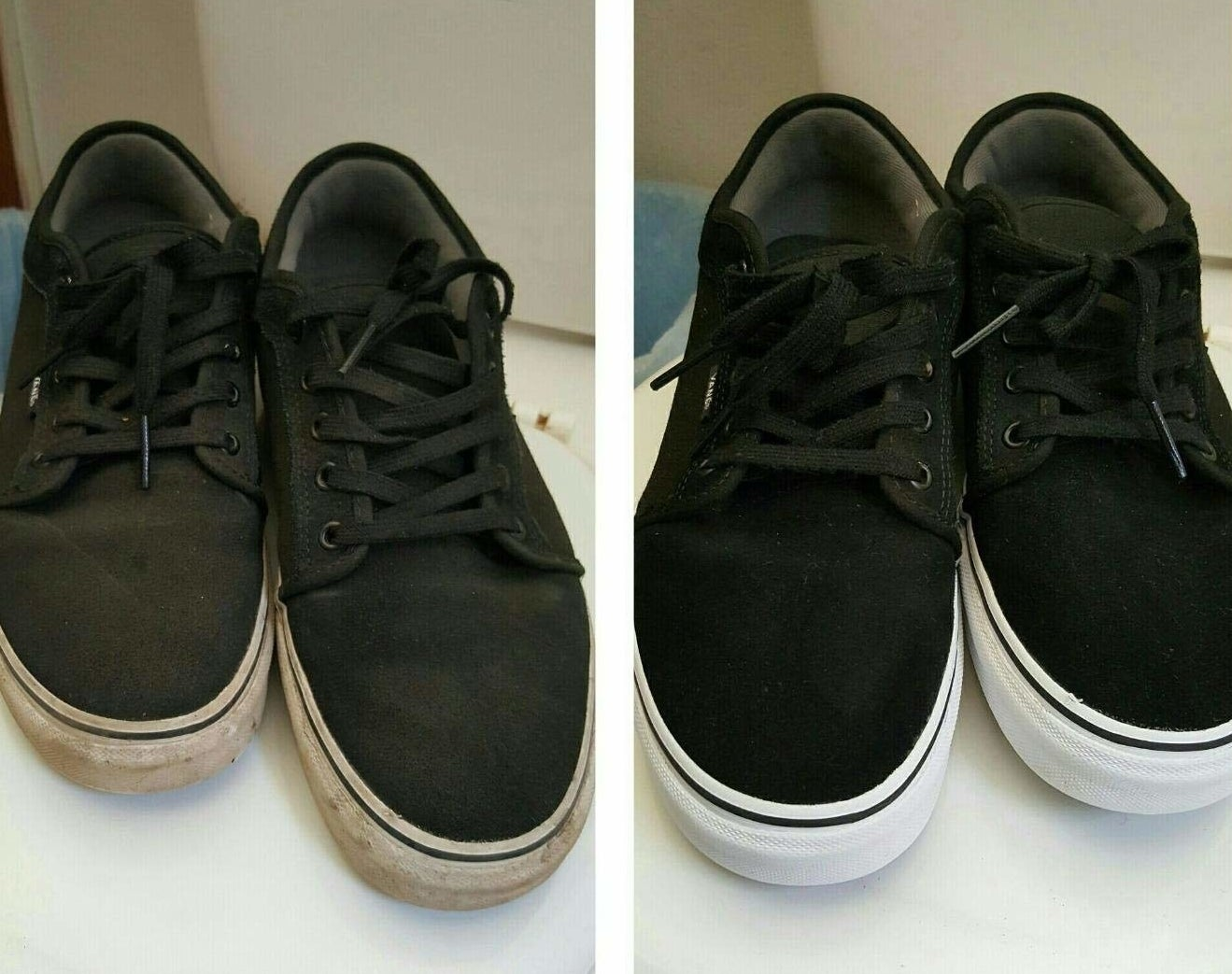 Reviewer photos showing a pair of shoes before and after getting cleaned with the kit. The dirty shoes are completely restored to a new appearance