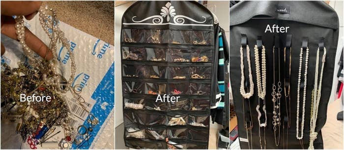 Reviewer photos of jewelry before and after being stashed in the organizer. The before photo shows a tangled mess and the after photo shoes the jewelry neatly separated