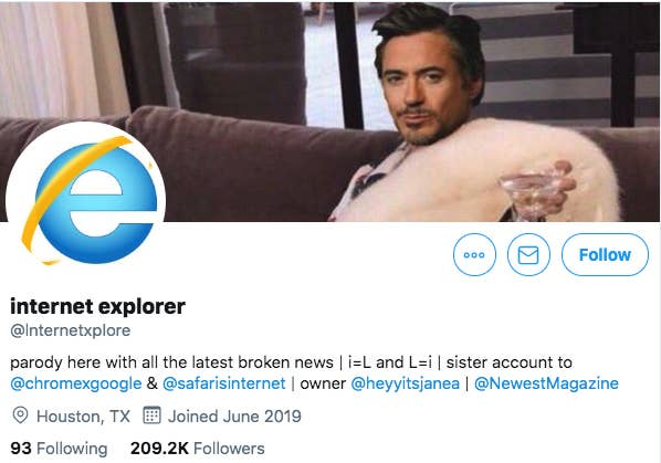 Leshaun Lewis Set Up The Microsoft Internet Explorer Parody Account On Twitter