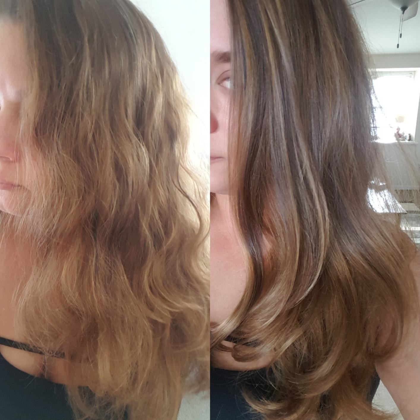 Reviewer photo of their hair before and after using the brush. Before the hair is somewhat messy and frizzy and after the hair is smooth and styled up