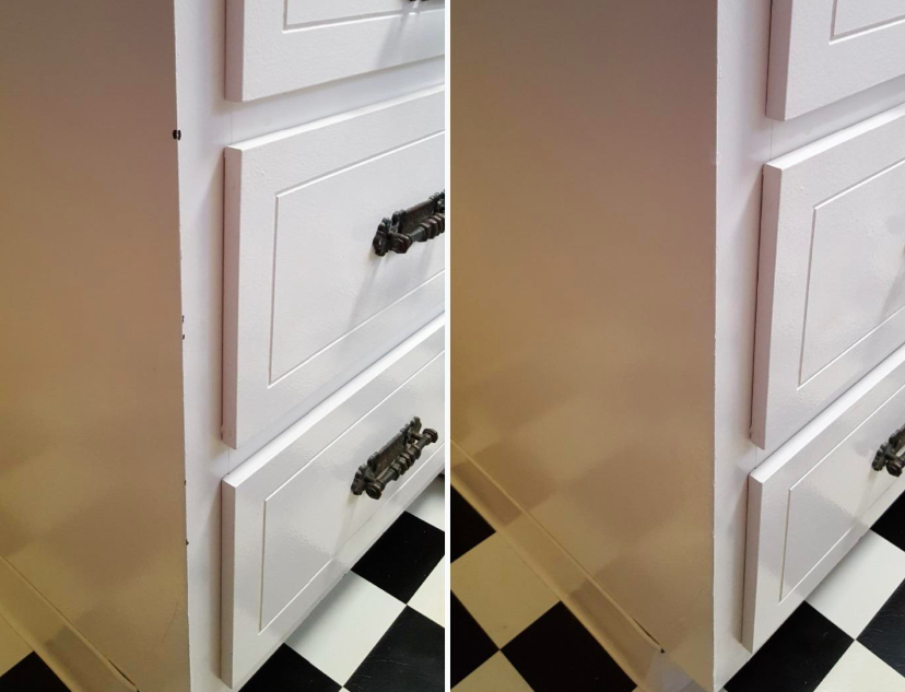 Before and after image after using the paint to cover up a paint knick on a cabinet