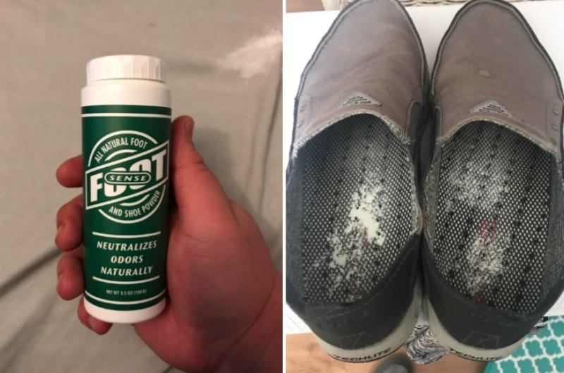 Two reviewer images, one holding the bottle and the second the powder after it's been applied to the inside of a pair of shoes