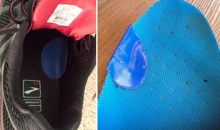 Reviewer images showing the patches inside a shoe and right on the shoe insert where blisters commonly occur