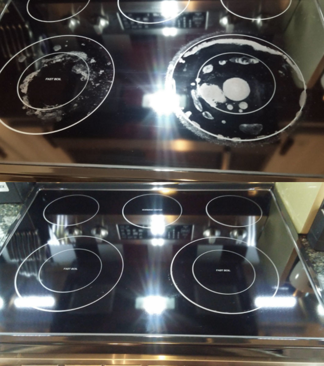 The before and after of a stove top treated with the product showing it is now clean