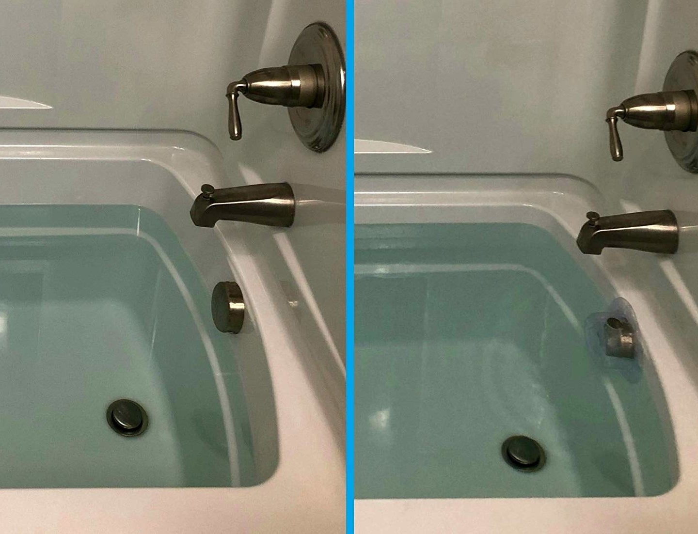 A before image showing the extent to which the tub can fill without the product and an after image showing an additional 3-4 inches of water in the tub with the product