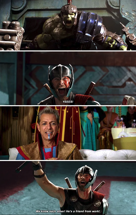 "Thor recognizing Hulk in ""Thor: Ragnarok"""