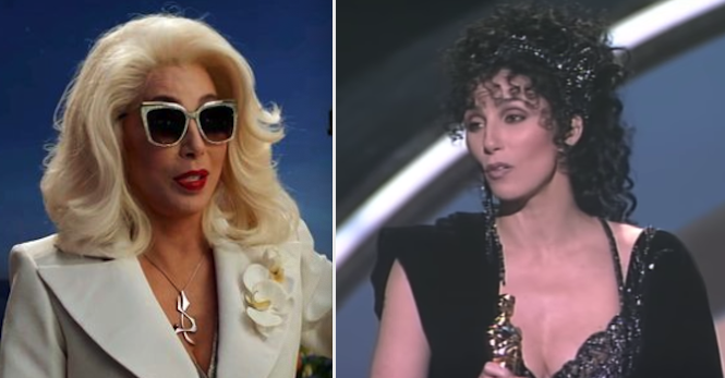 "Cher in ""Mamma Mia 2"" and her winning her Oscar for ""Moonstruck"""