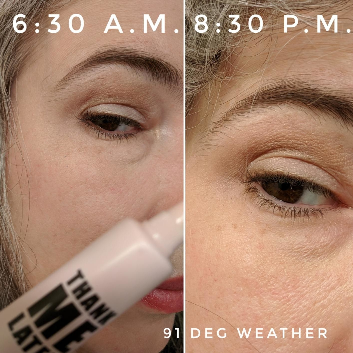 Reviewer before-and-after photos showing eye makeup remaining in tact from 6:30 a.m. to 8:30 p.m.