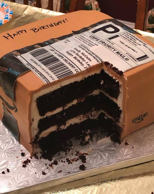 Astonishing This Amazon Delivery Box Is Actually A Birthday Cake From A Funny Birthday Cards Online Elaedamsfinfo