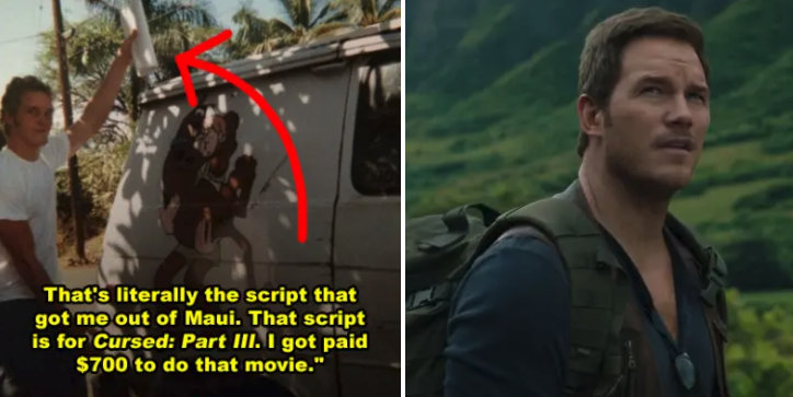 "Side-by-side of Chris Pratt with his van and then him in Hawaii shooting ""Jurassic World 2"""