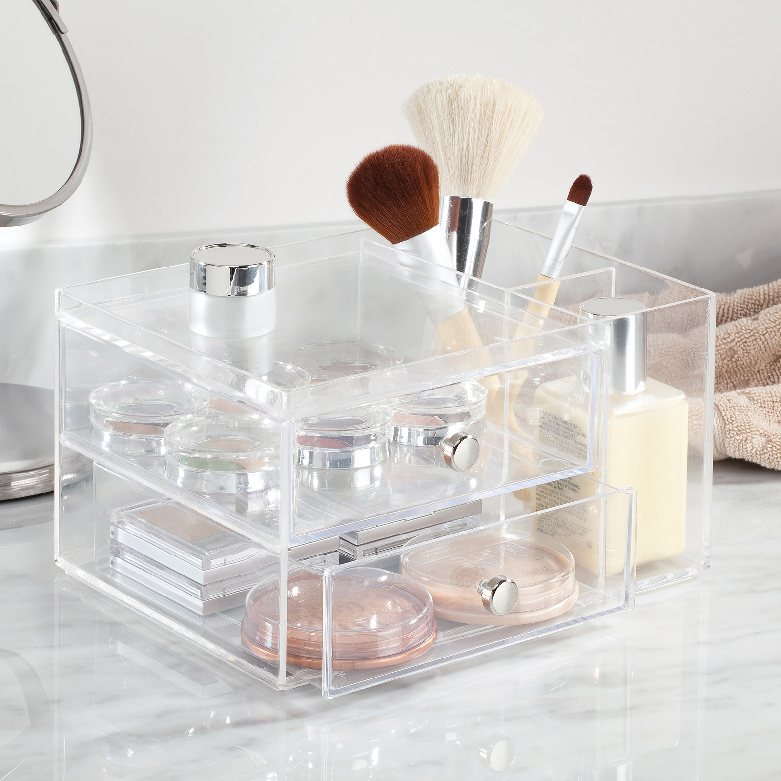 clear box with two shelves
