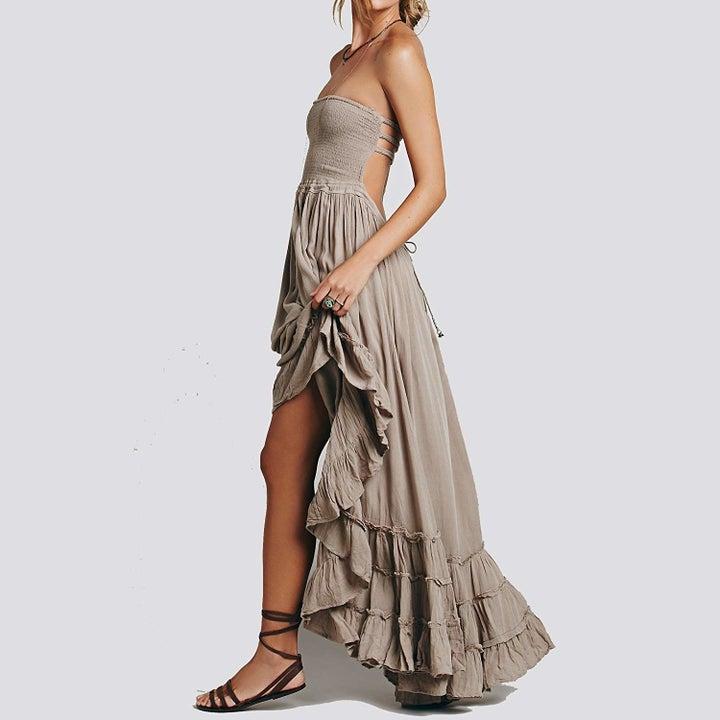 A model wearing the dress in gray
