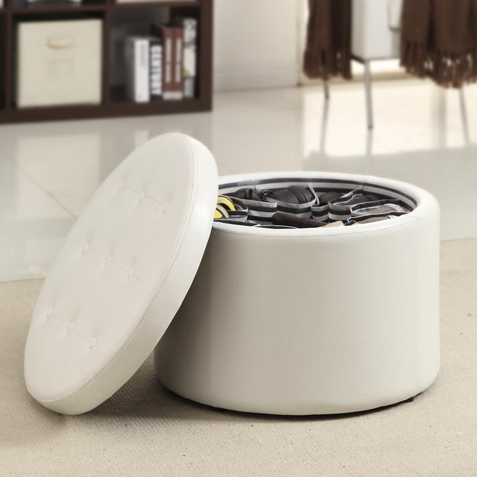 round ottoman with pockets for shoes