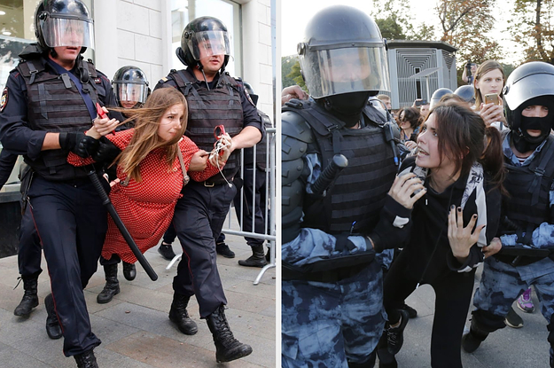 Eerily Similar Photos Show Protesters Being Hauled Away And Arrested In Moscow