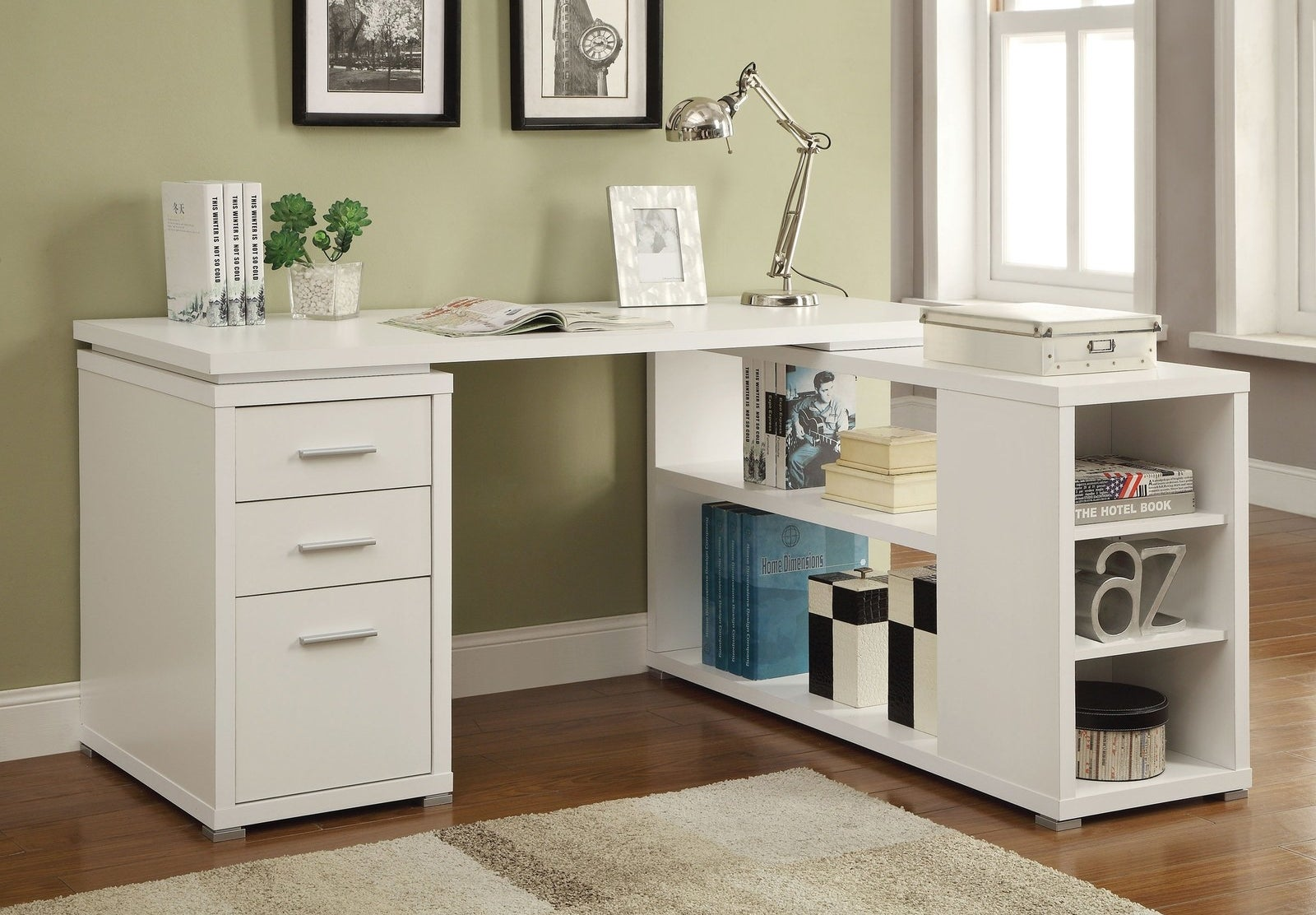desk with three drawers and a whole shelf on the other side