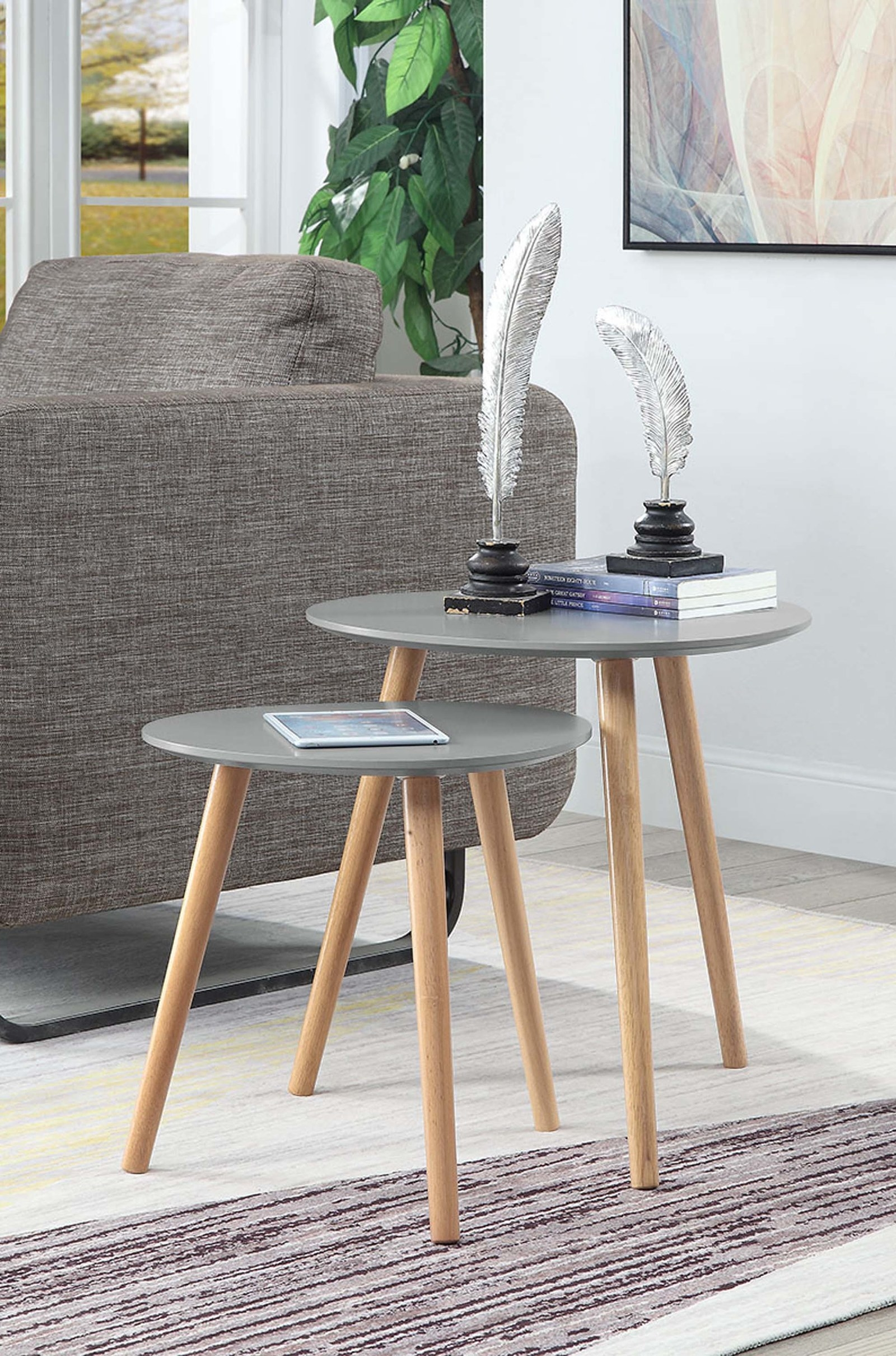 grey end table with natural wood legs
