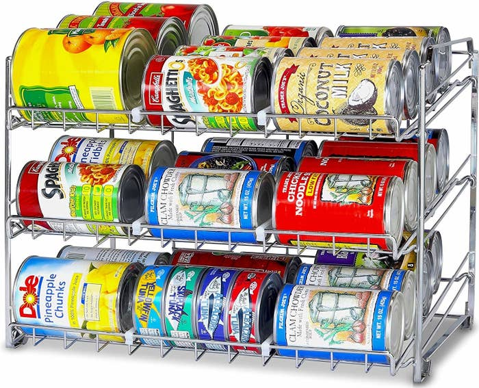 vertical rack for food cans so they can roll to the front