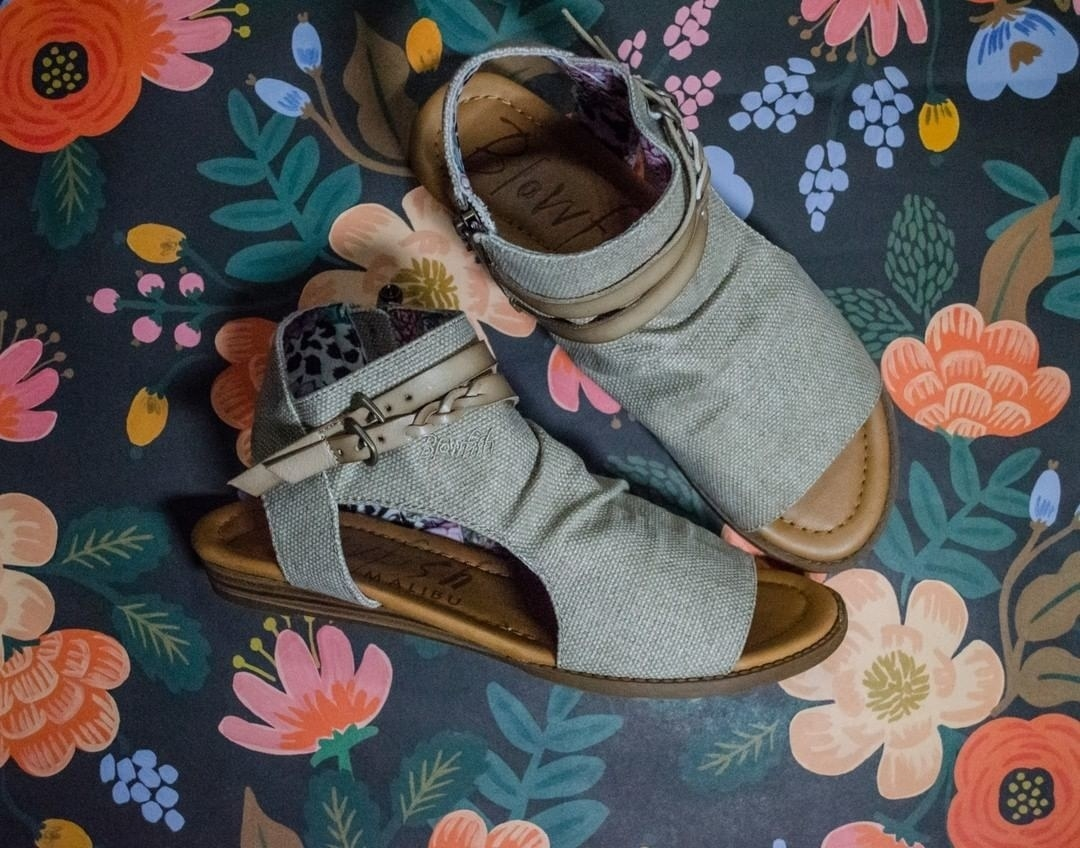 The fabric sandals with braided straps