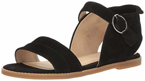 the flat black sandals with tan memory foam on the sides and bottom