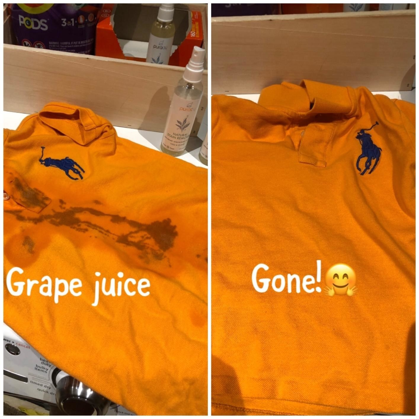 An orange shirt with a large grape juice stain before, and the stain gone after using the stain remover