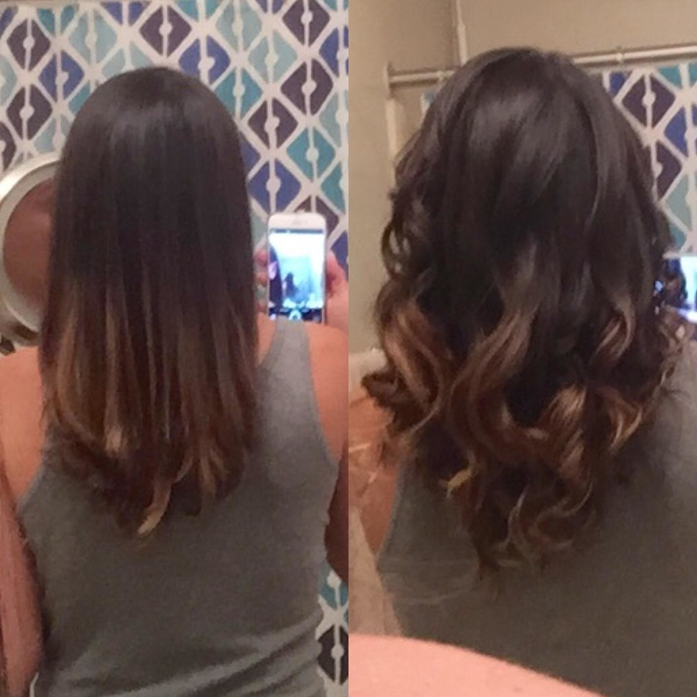 Reviewer with straight hair on the left and curls on the right