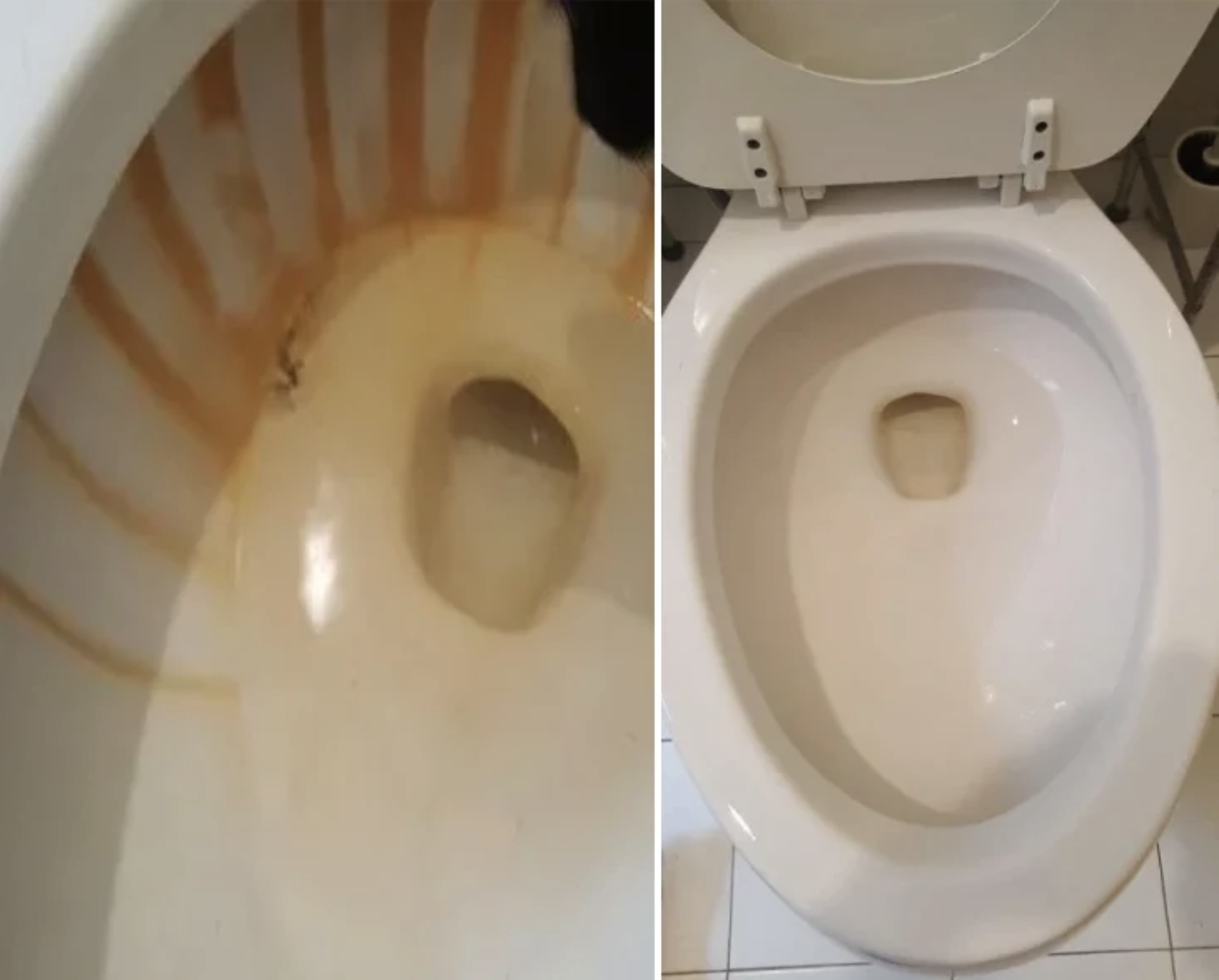 On the left: A review image of a toilet with many rust-colored hard water stains; on the right: The same toilet sparkling clean