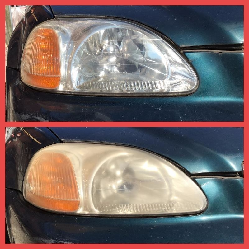 The headlight of a reviewer's car, before cleaning (dingy and yellowed) and after (clear and bright)