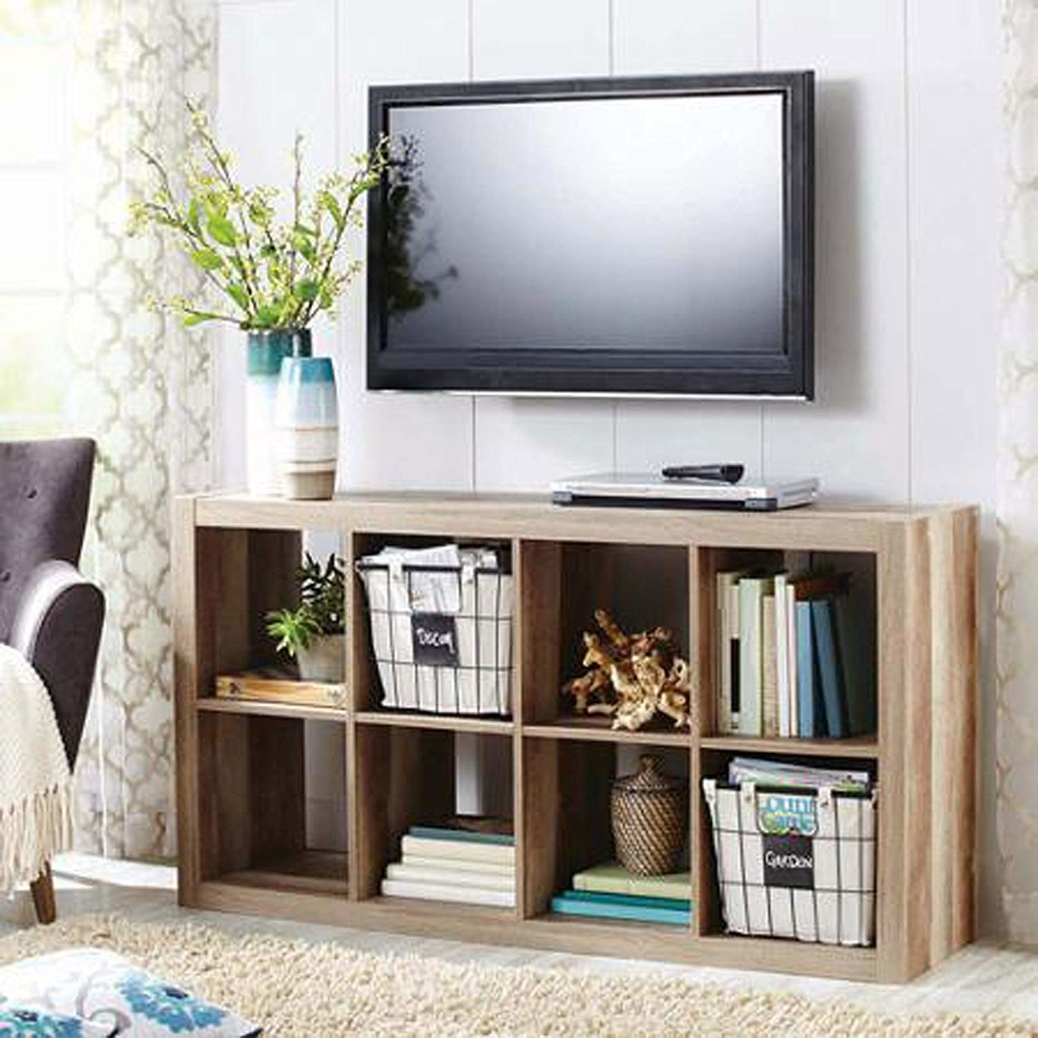 The modern Better Homes and Gardens eight-cube shelf in beige.