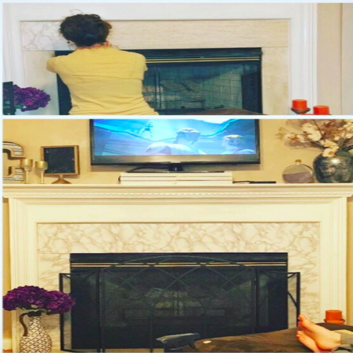A customer review photo of them using the vinyl wrap film to border their fireplace
