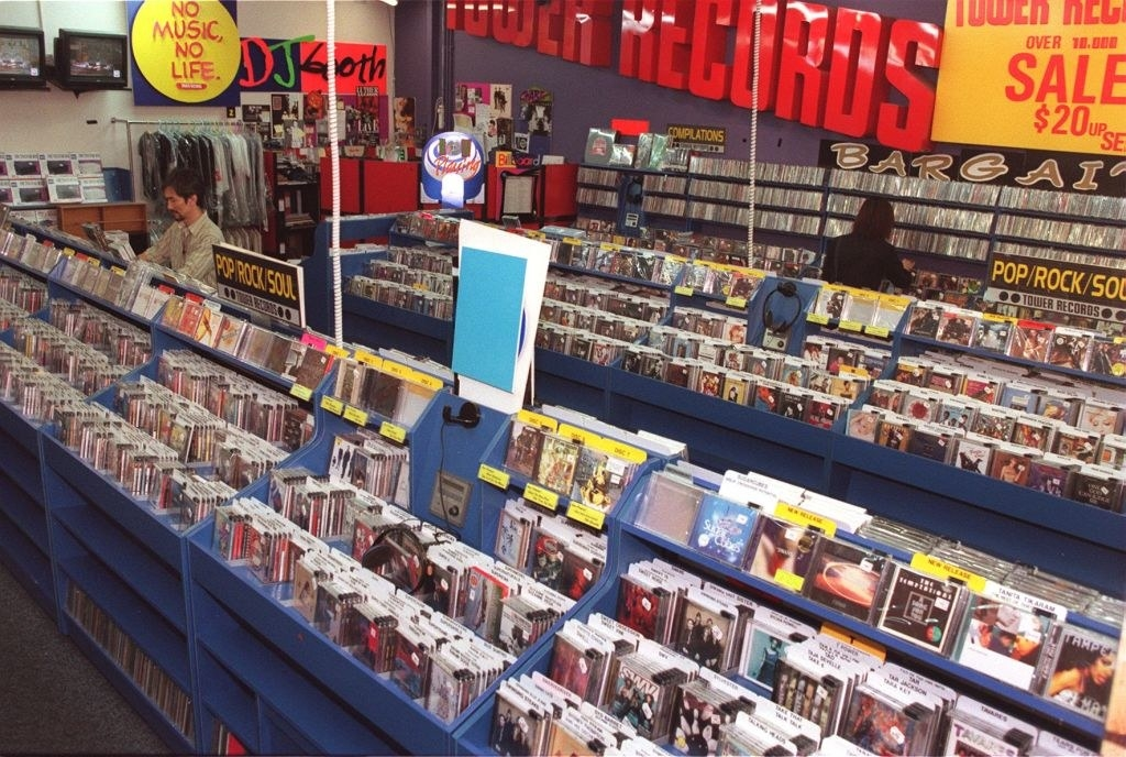 An overview photo of a Tower Records in the '90s.