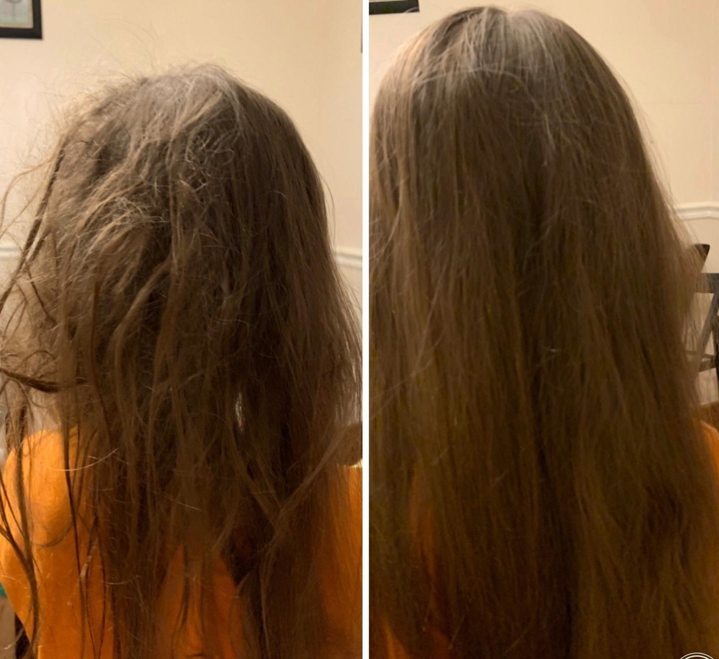 A reviewer with tangled hair before, and smooth, tangle-free hair after