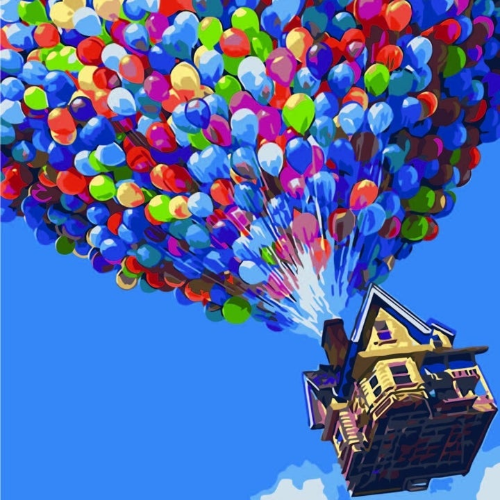 The finished painting, of a house and balloons that look like the flying scene from the movie Up