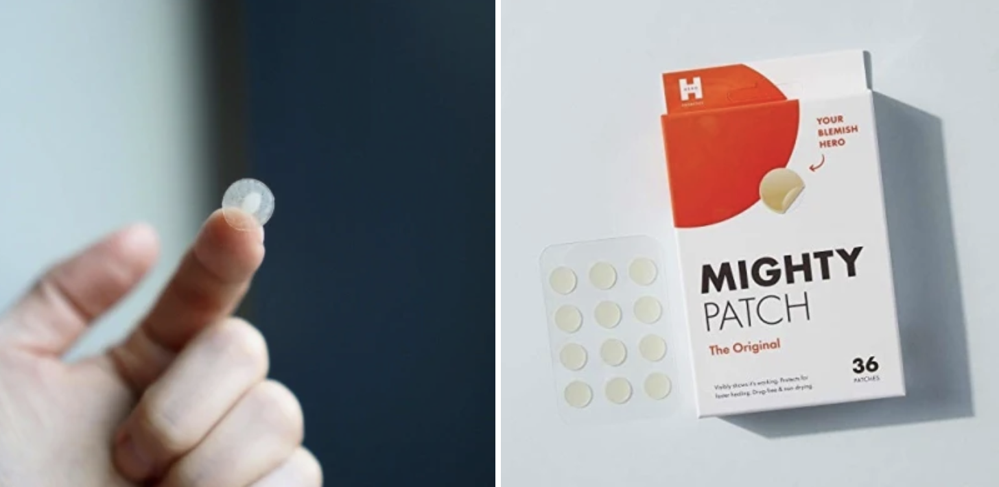 On the right: a hand with a pimple patch stuck to the finger with gunk on it On the left: the pimple patches sitting next to the packaging, showing how small they are