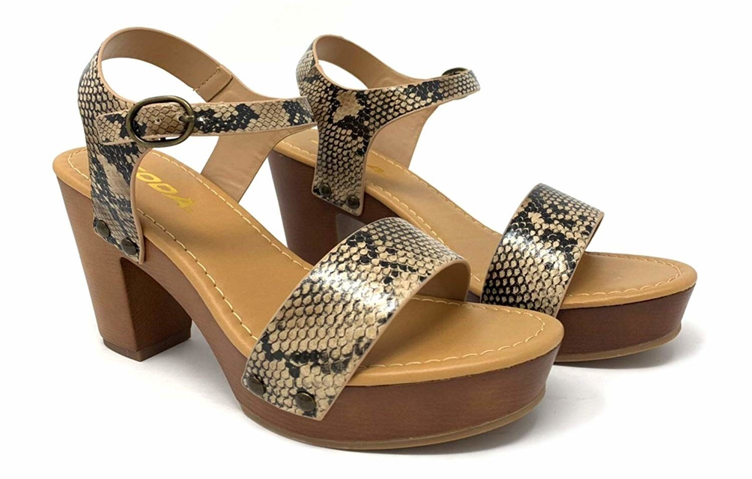 sandals in snake print
