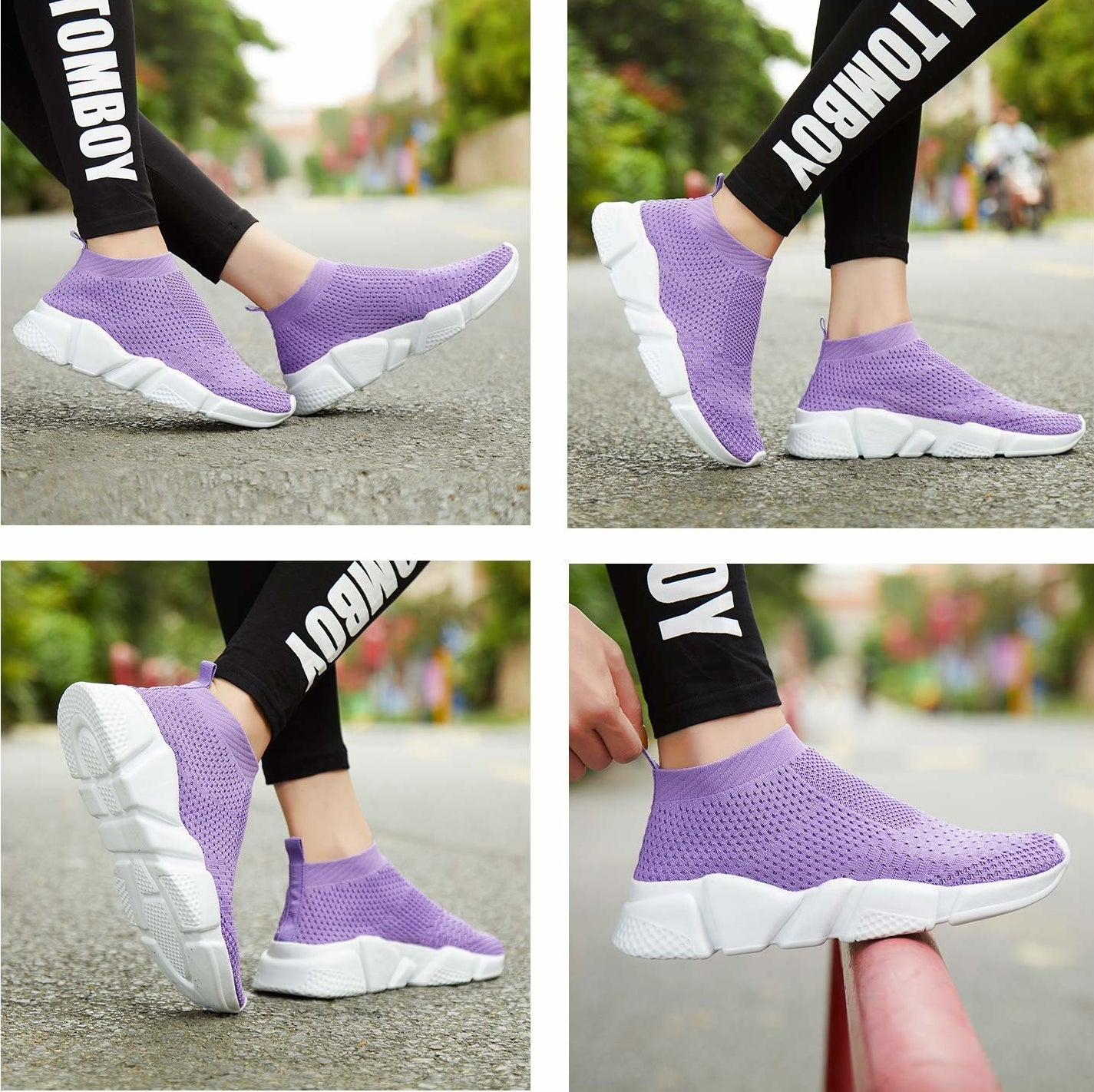 model wears sneakers in purple