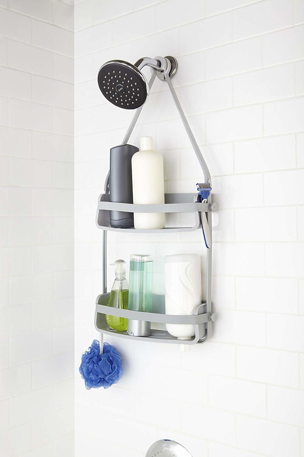 The shower caddy with toiletries in it