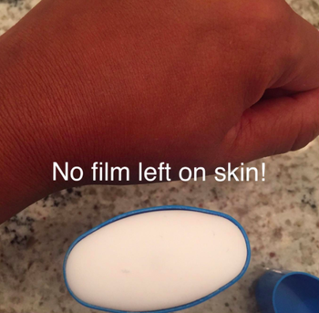 Reviewer photo showing the balm does not leave behind a film on the skin