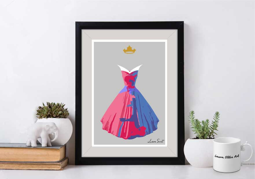 A print of Princess Aurora's dress with a mix of both pink and blue
