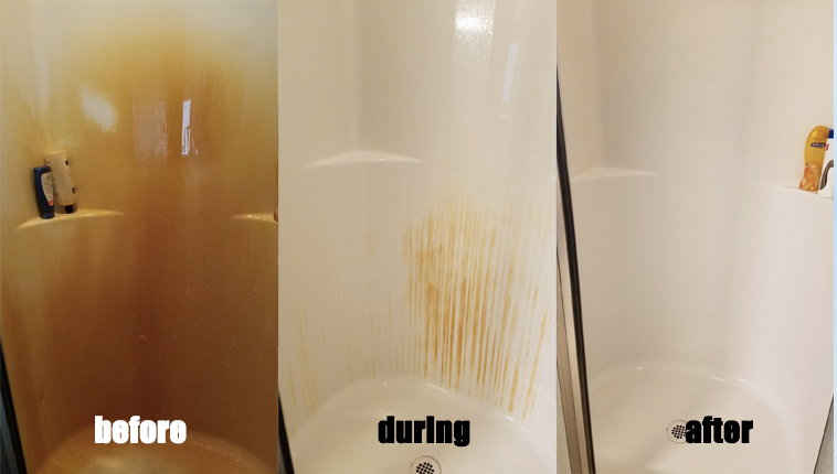 before: bright orange stained  shower during: just a few streaks after: no orange stains