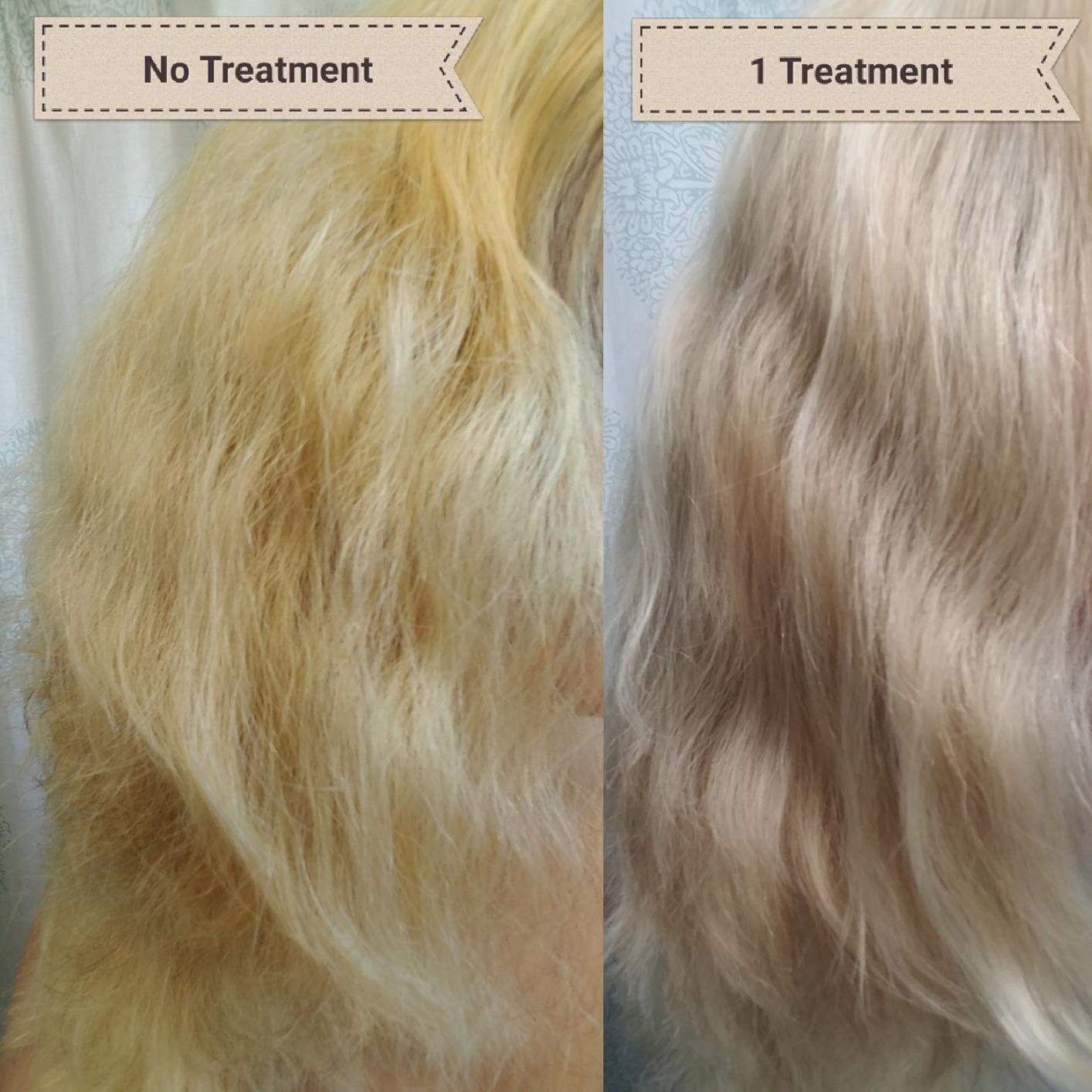 "Two photos of a reviewer's hair: yellow-tone, frizzy hair with text ""no treatment"" and smoother, shinier, less brassy hair with text ""1 treatment"""