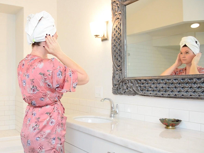 model wears hair towel