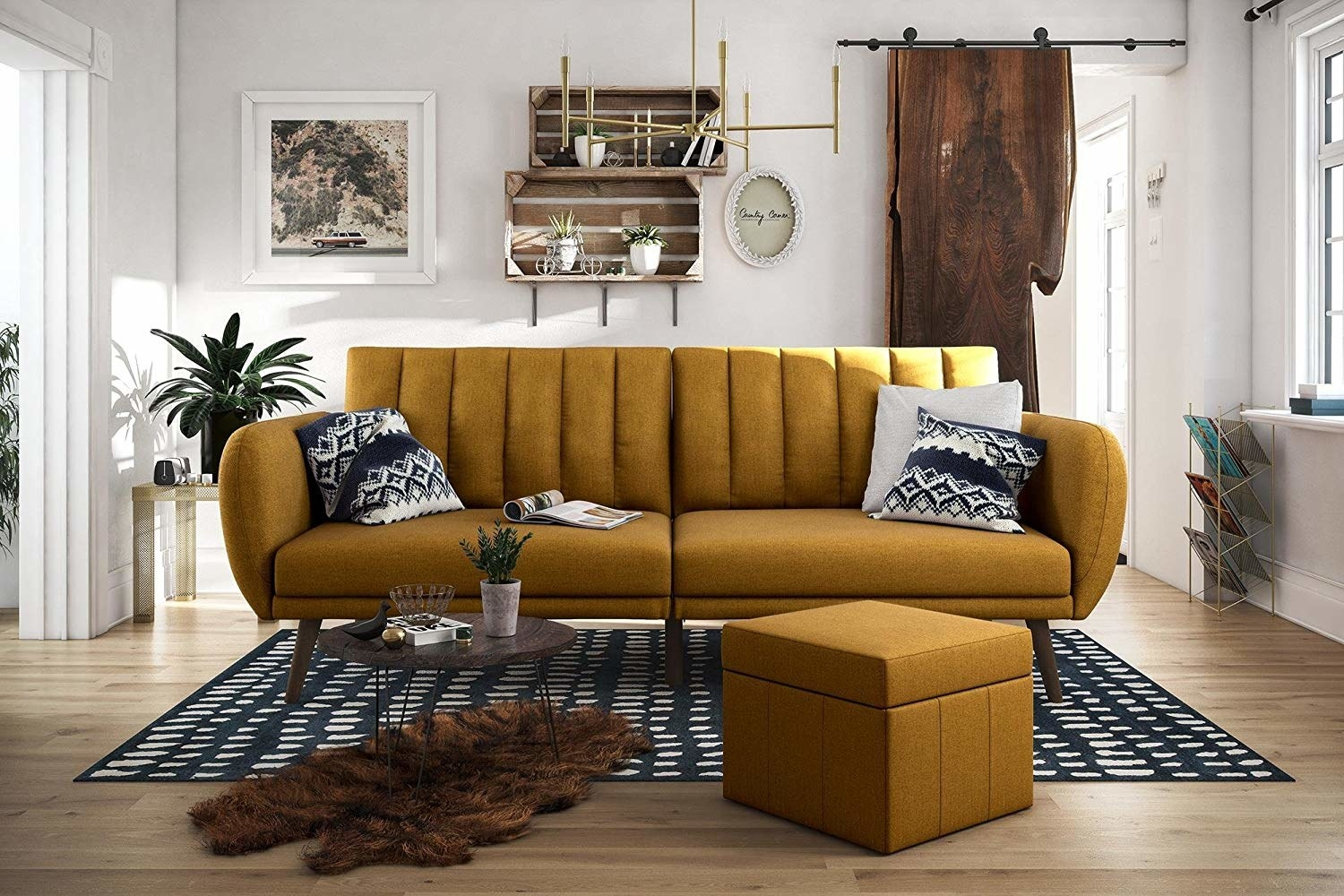 mustard yellow vertically tufted futon couch with matching ottoman