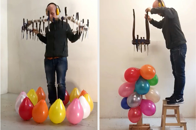 The Guy Who Makes Videos Popping Balloons With A Bunch Of Knives Explained His Creative Process