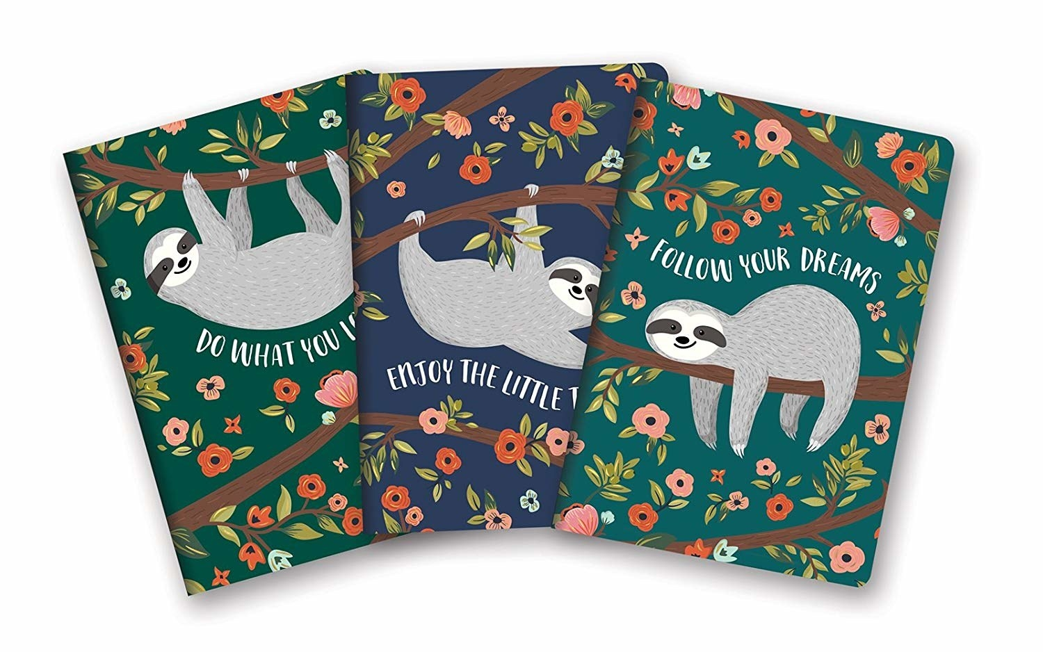 Three notebooks with a sloth drawing on it