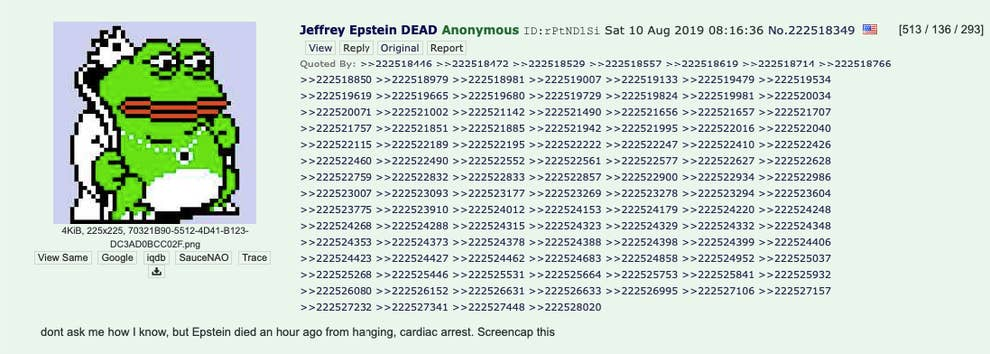FDNY Reviewed 4chan Post About Jeffrey Epstein's Death